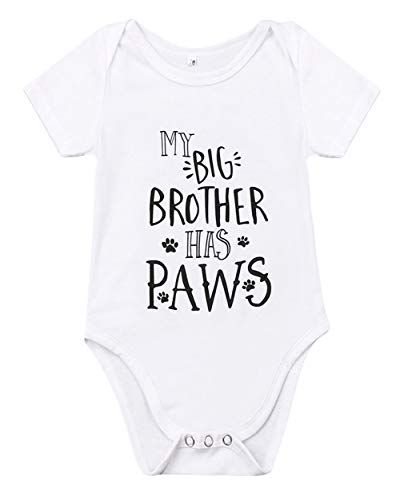 (Newborn Baby GOT My Mind ON My Mommy Funny Bodysuits Rompers Outfits Blue (Z-My Big Brother Has Paws, 3-6M))