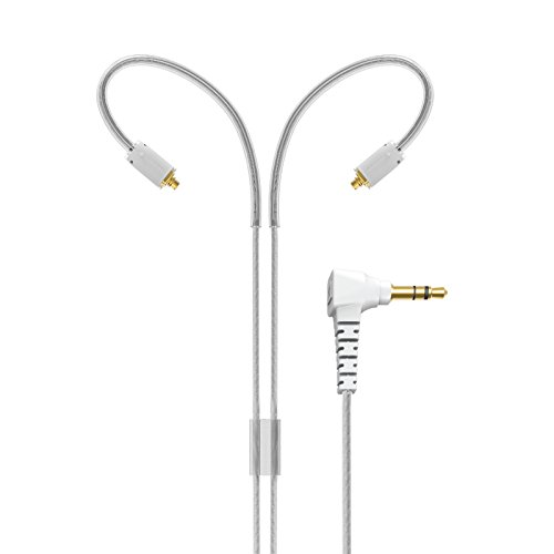 """MEE audio MMCX Replacement Stereo Audio Cable with Memory Wire earhooks for M7 PRO and Other in-Ear Headphones (51"""", Clear)"""