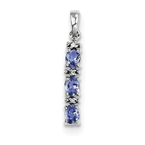 ICE CARATS 925 Sterling Silver Blue Tanzanite Diamond Pendant Charm Necklace Gemstone Fine Jewelry Gift Set For Women Heart by ICE CARATS