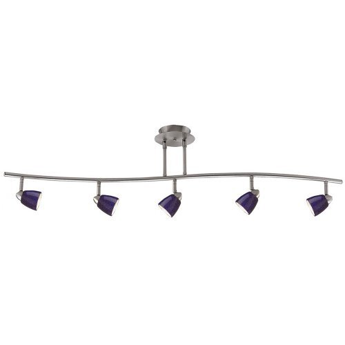 Cal Lighting SL-954-5-BS/BL Five Light Pendant from Serpentine Collection 48.38 inches, Pwt, Nckl, B/S, Slvr.