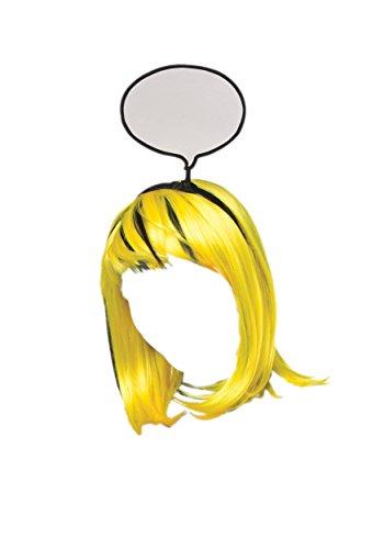 [Rasta Imposta Women's Pop Art Girl Wig, Yellow/Black, One Size] (Comic Book Costumes Girls)