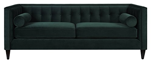 Jennifer Taylor Home, Sofa, Hunter Green, Velvet, Hand Tufted, Hand Painted and Hand Rub Finished Wooden Legs