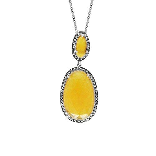 lver Yellow Jade & Marcasite Pendant Necklace 18 Inch (Antique Jade Pendant)