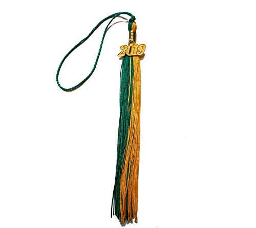 Graduation Tassel With 2019 Year Charm Grad Days(Gold/Green)