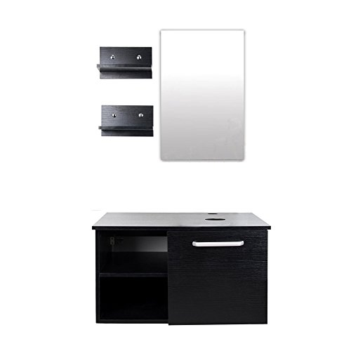 Wall Mounted Bathroom Vanity Cabinet, Double Wood Side Shelves with Mirror, 1-Door and 2-Shelves, Black Finish, 28-Inch