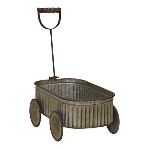 (Metal Wagon Garden Planter with Wooden Handle Decorative Wagon Home Garden Decor)