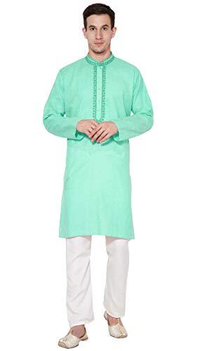 SKAVIJ Men's Tunic Cotton Kurta Pajama Set Evening Dress (Medium, Green)