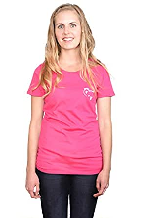 Women's Solid Round Neck T Shirt (Small, Pink)