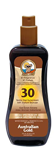 Gel Spf 20 Sunscreen - Australian Gold Spray Gel Sunscreen with Instant Bronzer, Moisturize & Hydrate Skin, Broad Spectrum, Water Resistant, SPF 30, 8 Ounce