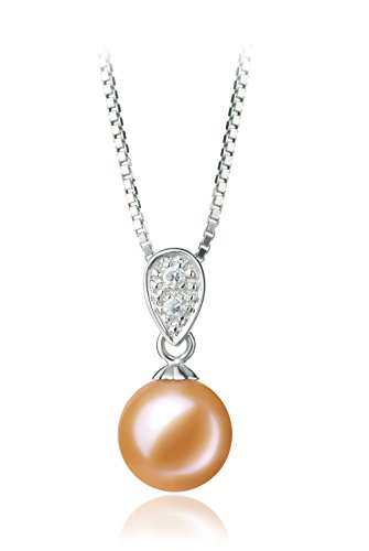 [Daria Pink 7-8mm AAAA Quality Freshwater 925 Sterling Silver Cultured Pearl Pendant] (Daria Costume)