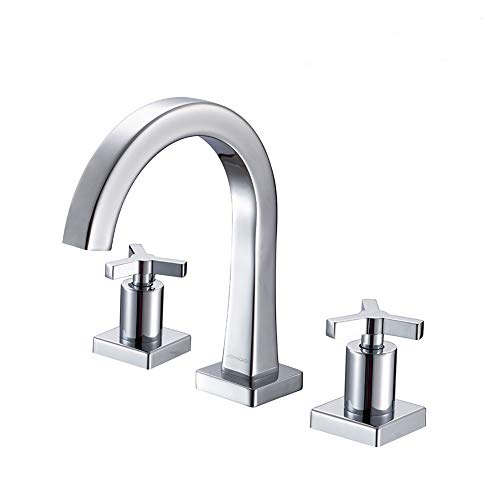 JOMOO 8 Inch Brass Widespread Bathroom Faucet Two-Handle Three-Hole Deck Mounted Waterfall Lavatory Faucet with Ceramic Valve and Faucet Supply Hoses Chrome