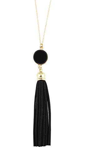 Styles I Love Womens Girls Colorful Resin Alloy Leather Tassel Pendant Statement Necklace (Gold Black)