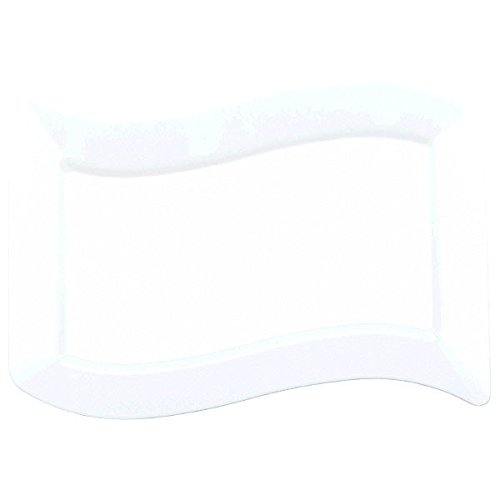 Amscan Lovely Large Wavy Rectangle Premium Plate Party Tableware and Reusable Dishware, White, 7