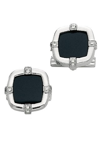 14K White Gold Square Cufflinks with Onyx-86346 14k Gold Onyx Cufflinks