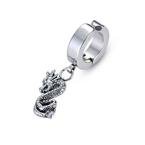 Stainless Steel Girl Clip on Earrings Chinese Dragon Drop Dangle Buckle Earring Jewelry