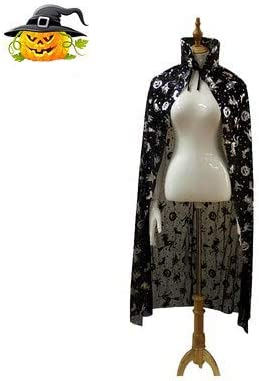 Halloween Shining Cape Adults Witch Wizard Cloak Fairy Robe Cosplay Costume Translucent Mantle Tunic Women Girl Fancy Party Outwear Queen Magician Princess Outfit Dress up Party Clothes 120cm//47inch