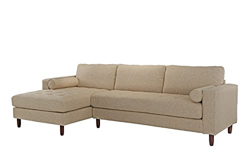 Mid-Century Modern Tufted Fabric Sectional Sofa, L-Shape Couch with Extra Wide Chaise Lounge (Beige)