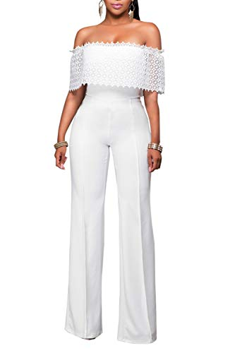 Selowin Ladies Sexy Off Shoulder Wide Leg Long Pants Jumpsuits for Women White S