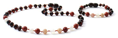 Gemstone Cherry - Amber Teething Necklace and Bracelet/Anklet Set for Baby Made with Gemstone Beads - Polished Cherry Amber Beads - BoutiqueAmber (Cherry/Jasper/Moonstone/Sunstone)