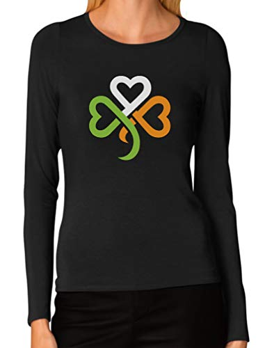 Shamrock Ireland Clover Hearts for St. Patrick's Day Women Long Sleeve T-Shirt Large Black