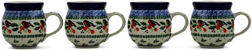 Polish Pottery Set of Four 12 oz Bubble Mugs made by Ceramika Artystyczna (Holly Robin Theme) + Certificate of Authenticity