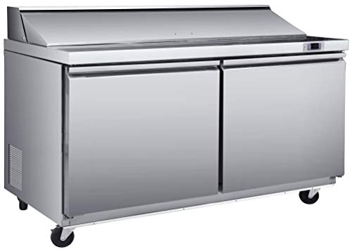 Chef's Exclusive CE347 Two 2 Door Commercial Heavy Duty Stainless Steel Sandwich and Salad Station Prep Table Cooler Refrigerator 17.8 Cubic Foot Storage with (18) 1/6 Size Pans, 61.2