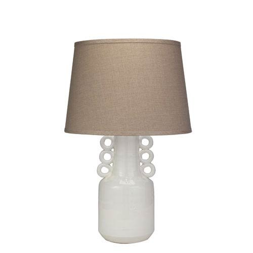 Jamie Young Company Circus White with Classic Cone Shade Table Lamp, Natural Linen