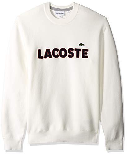 Lacoste Men's Long Sleeve Crepe Cotton Links Printed Sweater, Flour/Silver Chine, Small