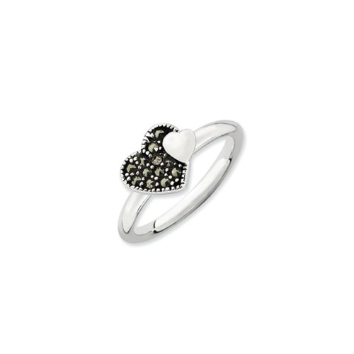 er Stackable Marcasite Heart Ring Size 10 (Marcasite Heart Ring)