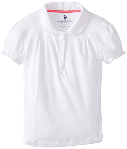 (U.S. Polo Assn. Big Girls' Polo Shirt (More Styles Available), Jersey White-IJWJG, 10/12)