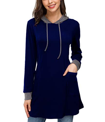 - Le Vonfort Maternity Clothes Plus Size, Women's Stylish V-Neck Long Sleeve Active Pullover Hoodies Sapphire X-Large