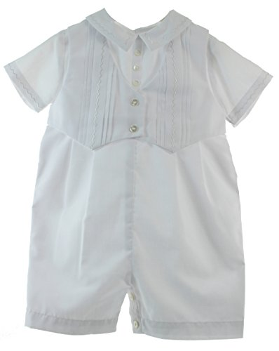 Newborn Boys Christening Outfit White Romper with Vest & Hat Set Sarah Louise NB - Sarah Louise Hat