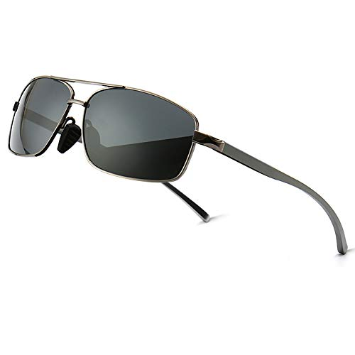 33b4164860932 SUNGAIT Ultra Lightweight Rectangular Polarized Sunglasses 100% UV  protection (Gunmetal Frame Gray Lens