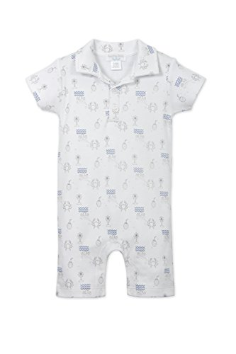 othes Pima Cotton Collared Short Sleeve Polo Shortie Romper, 9-12 Months, Beach Vacation-Indigo on White ()