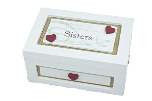 Wooden Cream Trinket Box Keepsake Sister Of All The Sisters in the World F1376C