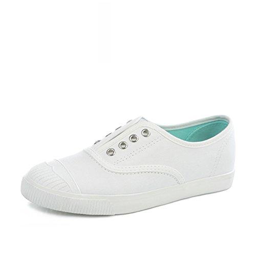 Arte Concha Blancos Zapatos,Resorte Fino Transpirable Lienzo,Estudiantes Con Zapatos De Fondo Plano A