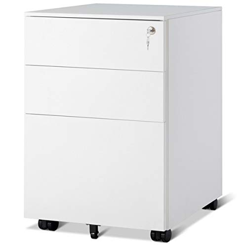 Giantex File Cabinet W/3 Lockable Drawers Include 2 Keys, Wheels, Hanging File Frame and Removable Tray, Metal Vertical Full Assembled for Office Mobile Pedestal Rolling File Cabinet (White) ()