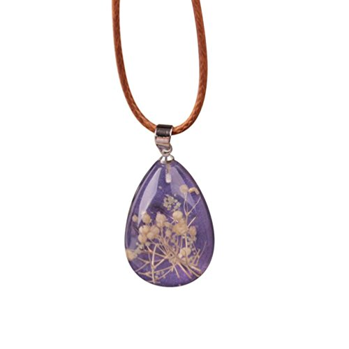 Women's Pendant,kaifongfu Necklace Luminous Dried Flower Teardrop Pendant Charm Chain Jewelry (C) (Flowers Pendant Teardrop)