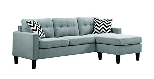 Coaster Home Furnishings Metro Upholstered Tufted Reversible Sectional Light Grey