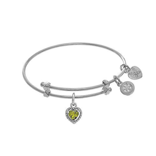 Angelica August Heart Shape CZ Birthstone Charm Expandable Tween Bangle Bracelet -  Angelica Collection