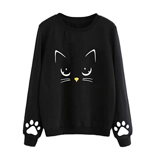2018 Newest Autumn Tops Women Laimeng_World Women Autumn Winter Cat Weater Round Neck Long Sleeve Blouse (Cashmere Jacket Track)