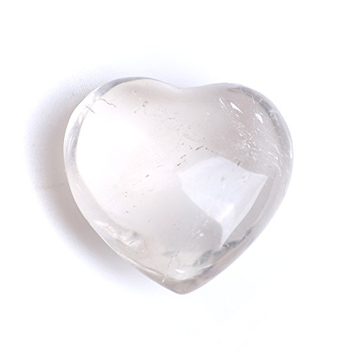 OCN-HEALING Natural Healing Clear Crystal Heart Rock Gemstone White Quartz Stone Carved Peaceful& Romantic Love Heart ()