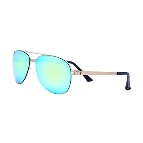 FONEX Male Female Screwless Memory Alloy Sunglasses Aviation Sun Glasses for Men 8016 (Gold, - Gladiator Glasses