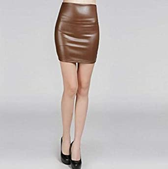 Amurleopard mini jupe femmes simili cuir noir mat
