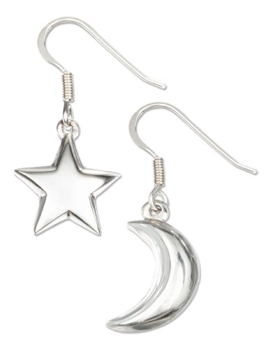 (Sterling Silver High Polished Puffed Moon and Star Earrings )