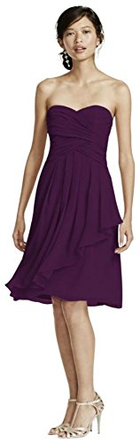 - Short Crinkle Chiffon Bridesmaid Dress with Front Cascade Style F14847, Plum, 4