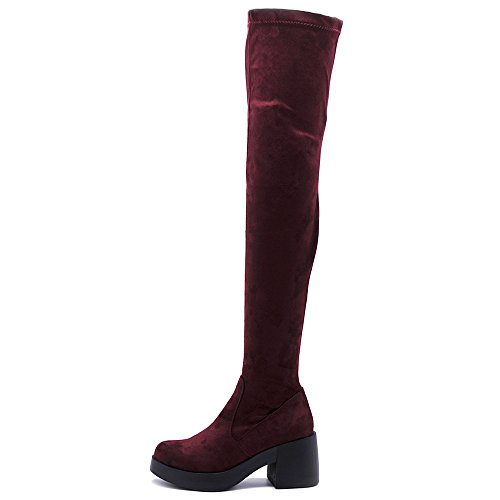 Ollio Women Shoe Span Stretch Faux Suede Platform Thigh-high Zip Up Long Boots TWB01020(10 B(M) US, Burgundy)