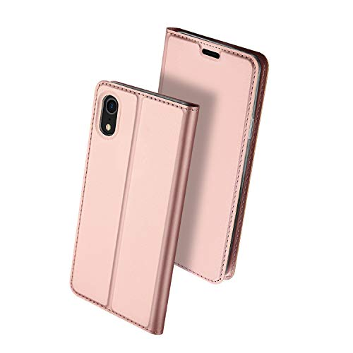 iPhone XR Case, HXAYR Slim Fit Luxury Skin Leather Wallet Case with Credit Card Holder [Kickstand][Magnetic Closure] Shockproof Folio Flip Full Body Protective Phone Case for iPhone XR, Rose Gold