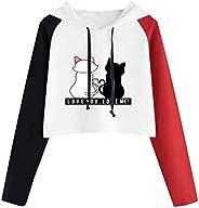 YSLMNOR Sweatshirts for Women Cute Print Hoodies Patchwork Long Sleeve Pullover Teen Girls Shirt Top