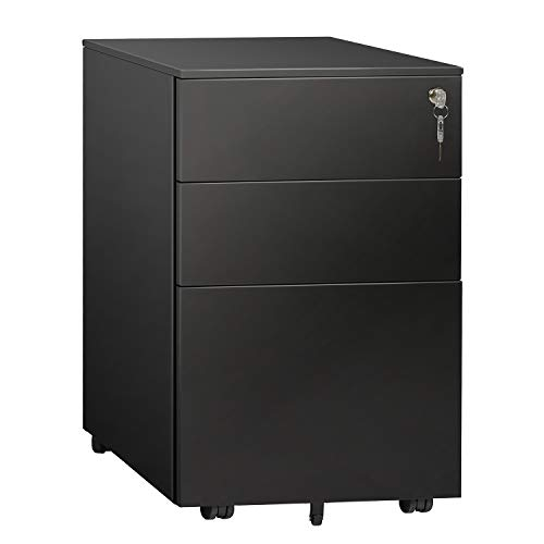 DEVAISE 3 Drawer Mobile File Cabinet, Lockable Metal Filing Cabinet for Legal/Letter/A4 Size, Fully Assembled Except Wheels, Black